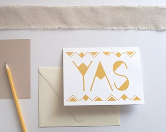 YAS Card, Everyday Greeting Card, Congrats Card, Gold Shimmer Card, Just Because Card, Blank Inside Card