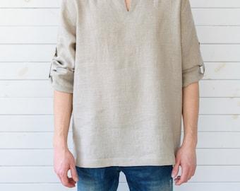 Linen shirt, Linen men's shirt, Grey linen shirt, Linen shirt men's, Linen summer shirt, Long sleeve linen shirt, Summer linen shirt