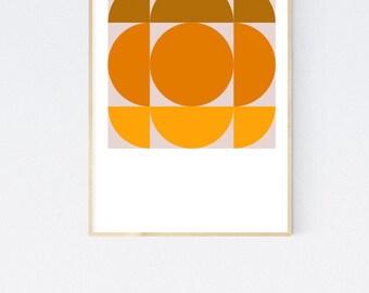 Hudson  - Orange Brown Retro Geometric 1950's Mid Century Modern style vintage art print