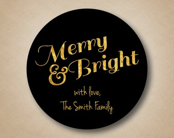 Christmas Sticker Gold Foil Merry & Bright Gift Labels Gold Glitter Custom Gift Tags Black and Gold Stickers Holiday Labels Modern Christmas