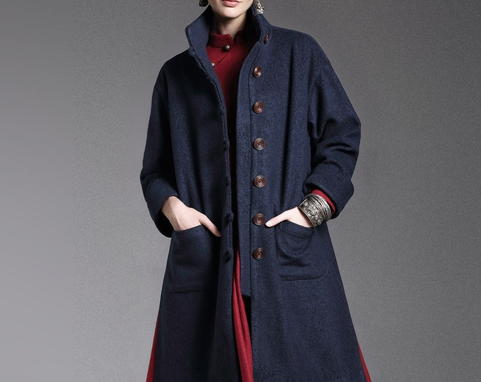 Wool coat - Coat long fall/winter - Long sleeves coat - Chinese Style - High collar - Made to order