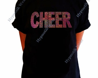"""Girls Sequence T-Shirt """" Pink AB Sequence Cheer """" Size XS to XL"""