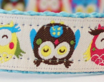 Colorful Owls Dog Collar/Adjustable Collar/Nature Dog Collar/Hootie/Woodland