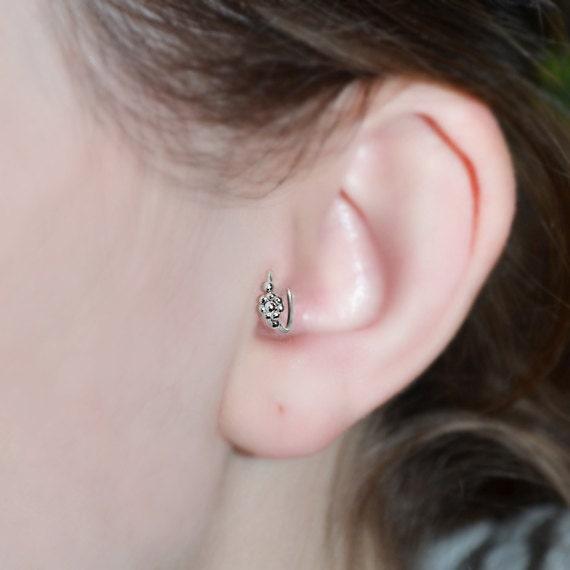 Silver Tragus Earring - Nose Ring Stud - Cartilage Hoop Earring - Helix Piercing - Daith Earring - 18g Rook Hoop - Septum Ring 18 gauge