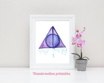 Harry Potter! Deathly Hallows Printable Art, Deathly Hallows art , Instant download, Home decor, dorm decor art