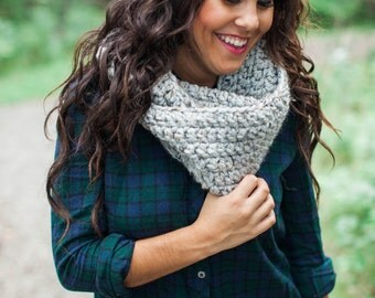 The Nor'Easter Scarf in Pebble Grey, Chunky Infinity Scarf, Circle Scarf, Crochet Scarf, Women's Scarf, Winter Accessories, Winter Scarf