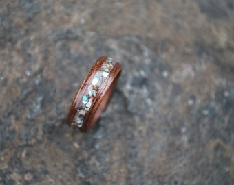 Abalone Wood Ring - Wood Wedding Band - Black Walnut Wood - Wooden Wedding Ring - Wood Ring with Abalone - Custom Wooden Rings - Anniversary