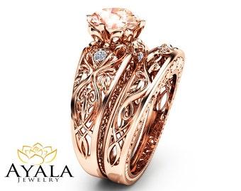 Peach Pink Morganite Engagement Ring Set 14K Rose Gold Bridal Rings Unique  2 Carat Morganite Ring Art Deco Engagement Rings