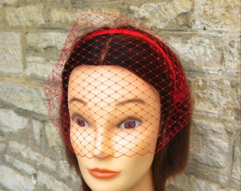Red Birdcage Veil  Red Veil headband birdcage Veil Dior Gothic Red Voilette  Masquerade mask wedding hen party