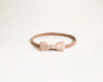 tiny champagne pink linen bow