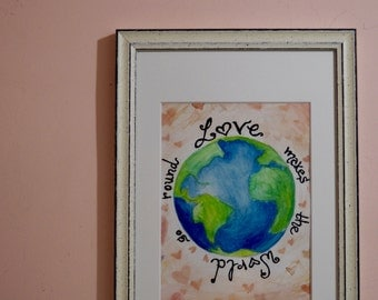 Love Makes the World Go Round, Original Watercolor Painting, Framed Wall Art, Watercolor Globe, Watercolor Art, Original Artwork, Decor