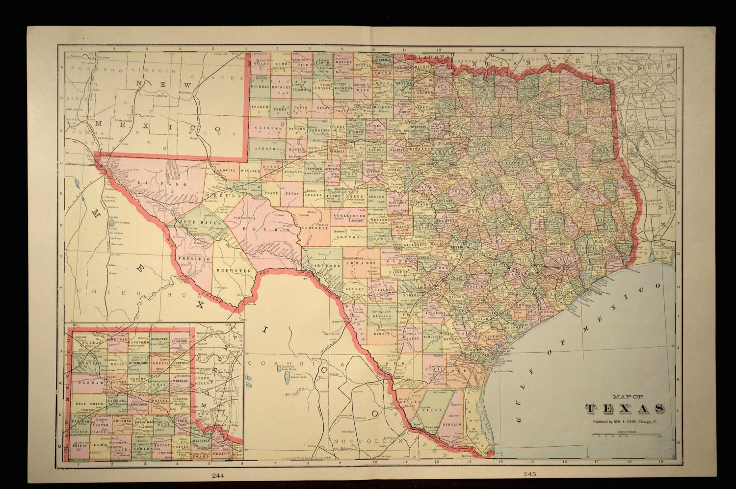 Buy Old Dallas Texas Map Vintage Historical Map Antique: Texas Map Texas Antique LARGE Early 1900s By MapsBooksEphemera