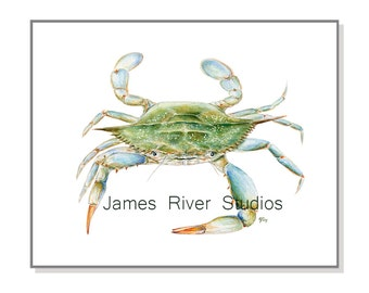 Crab Painting Crab Watercolor Painting Blue Crab Art Print Crab Print. Sea Green Beach Art Ocean Art Sea Art Beach Home Decor Coastal Art.