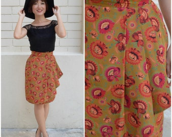 1980 Vintage Skirt/ Flytrap Overlapping Skirt/ Small Skirt/ XS Skirt/ Mini Skirt/ Overlapping Skirt/ Japanese Vintage/ Pleated Skirt/ 80's