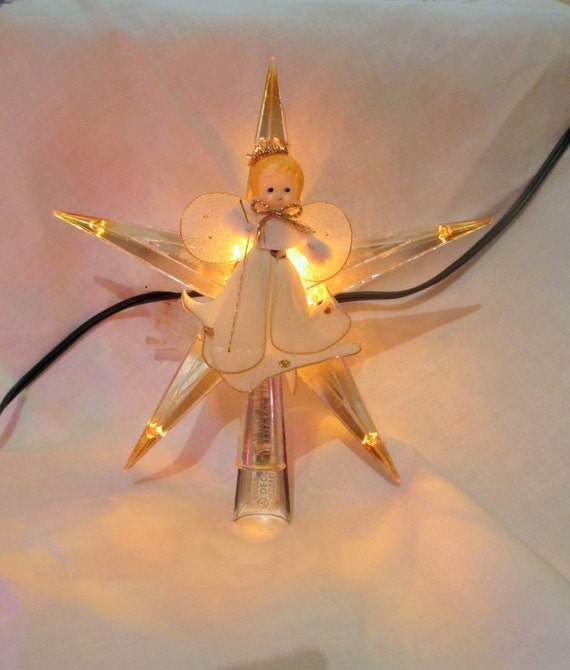 Vintage Angel Star Christmas Tree Topper Mid Century Star