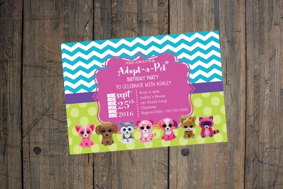 Beanie Boo Birthday Invitation - Girl Birthday Party, Adopt-a-Pet Party - digital file