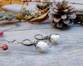Teardrop earrings, gift for woman, botanical earrings, real flower jewelry, dried flower, mothers day gift, dangle earrings, dainty earrings