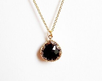 Black Crystal Gold Necklace - Small Dainty Minimal Pendant Necklace - Filigree Detail Thin Gold Necklace - Simple Delicate Gold Jewellery