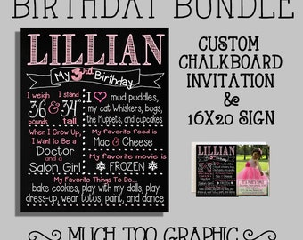 Pink or Custom Color 2nd 3rd 4th Birthday Bundle Chalkboard Sign & Photo Invitation Invitations for Party Personalized Printables