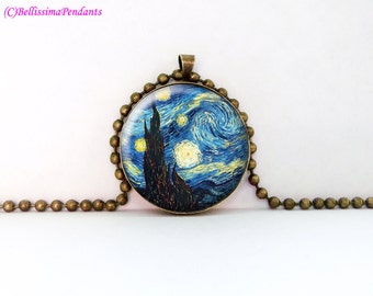 The Starry Night, Vincent van Gogh, 1 in. 25.4 mm necklace or keychain