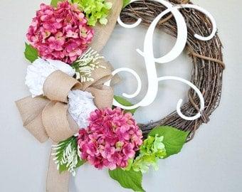 White Peony & Rose Pink Hydrangea Grapevine Wreath w/ Burlap. Year Round Wreath. Spring Wreath. Summer Wreath. Monogram Wreath. Door Wreath.