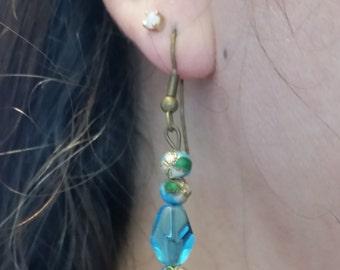 Aqua Ice and Cloisonne Drop Earrings, Dangle, Antiqued Gold, Blue, Teal, Green, Sky, Feminine, Flower, Wedding Jewelry, Pretty Gift,