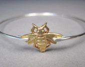 Mixed Metals Bee Bracelet, Gold Bee, Queen Bee Jewelry, Bee Jewelry, Bumblebee Bracelet, Bee Bangle Bracelet, Gifts for Her, Bauble Vine