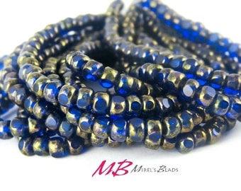 4x3mm 50 pcs Blue Sapphire Czech Beads with Bronze Finish, Tiny Beads