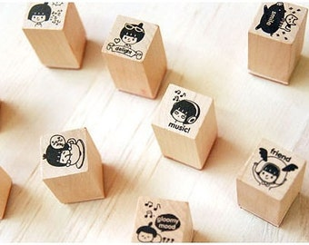 Cocoro Wooden Rubber Diary Stamps - Cute Girl