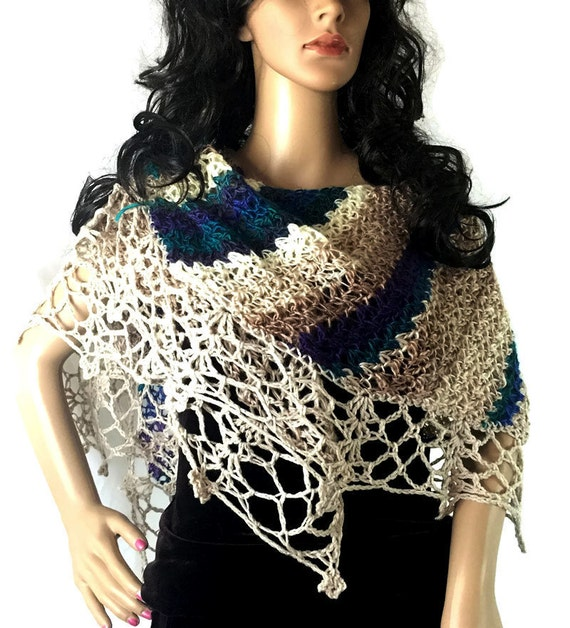 Outlander Striped Lace Shawl - Crocheted Turquoise Purple Cream Beige Tan Fraser Gabaldon FREE SHIPPING