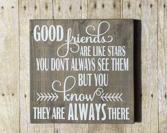 Best friend sign - Long distance best friend gift  - Best friend plaque - Good friends are like stars - Best friend gift - Far apart quote
