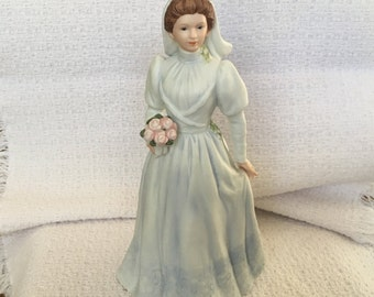 Homco Porcelain Vintage Bride Holding Bouquet of Flowers,  Victorian Lady, Homco 1480, Victorian Bride Figurine, Home Interiors, Wedding
