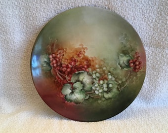 PSL Imperial Empire Austria Plate, Pfeiffer & Lowenstein Plate, Hand Painted Red  Green Grapes, 8in Plate, Austrian Porcelain, Gold Trim