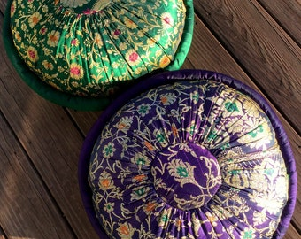 Brocade Meditation Zafu Floor Cushion. Pouf Style. Kapok Stuffed Firm. 18 x 8 in. , Kelly Green, Black or Brown.