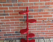 Vintage 4 Four Tier Wood Plant Stand Red Paint Retro