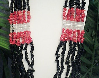 Black, Red Turquoise and Crystal  Clear Beaded Multi Strand Statemet Necklace / Beaded Black, Red and Crystal Clear Statement Necklace.