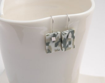 porcelain and Silver earrings camouflage Papyrus