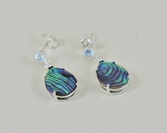 Sterling Silver Topaz And Abalone Dangle Earrings