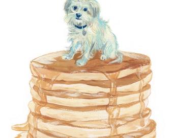 "8x10"" // Custom Dog Portrait - on food! // Original Gouache Painting on Archival Watercolor Paper"
