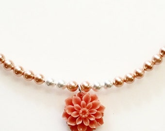 Pearls And Corals Necklace With Blue Beads And A Flower Made Of Coral