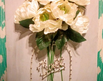 Mason Jar Wooden Flower Plaque