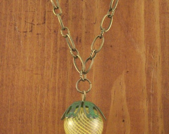 Yellow and Green Hot Air Ballon Necklace, Steampunk Jewelry, Steampunk Costume, Steampunk Shop