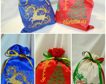 Christmas gift idea Set of 3 Christmas Gift Bags Christmas Sack Xmas Gift Bag Personalized Bags Xmas gift Childrens Stocking Holiday gift