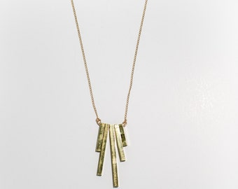 Wind Chime necklace - Brass tubing, fringe pendant on gold filled curb chain