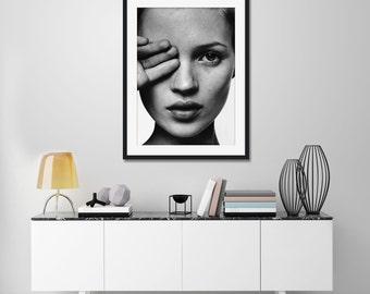 Kate Moss B&W Portrait Art Print