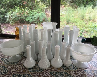 WEDDING | 32 pc Milk Glass Centerpiece and Bud Vase Lot | Includes Three Bouquet Vases and Two Compotes | Mixed Sizes, Patterns, and Makers