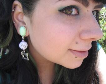"Singer Sewing Machine dangle earrings stretched EAR PLUGS pick gauge 2g, 0g, 00g, 7/16"", 1/2"", 9/16"" aka 6mm, 8mm, 10mm, 12mm, 14mm"