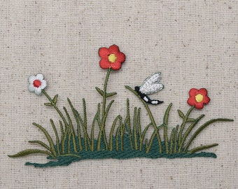 Grass - Red and White Flowers - Patch of Daisies - Dragonfly - Iron on Applique - Embroidered Patch - 155711A