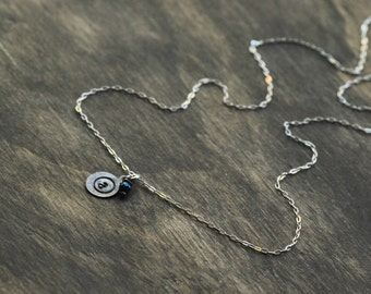 Tiny Initial Necklace - Silver Stamped Initial Necklace - Beaded Personalized Necklace - Bridesmaids Gifts - EmmaLeah Designs