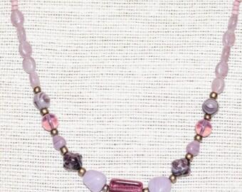 Amethyst Czech Glass Beaded Necklace Gun Metal